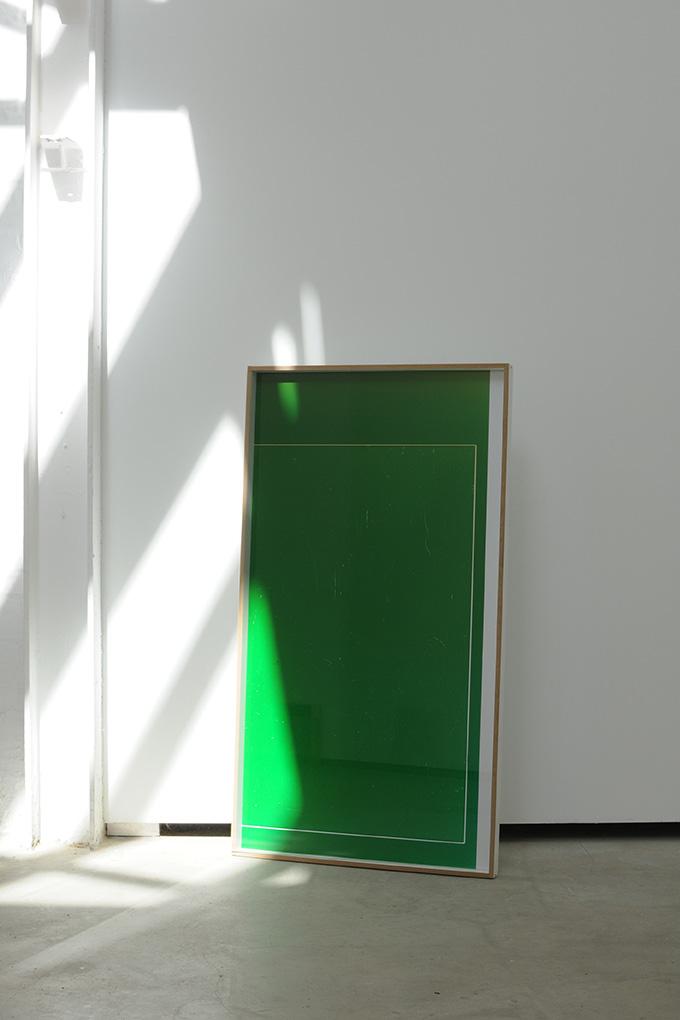 Manuel Burgener,  Untitled , 2013, photogram on dibond, glass, screws, wood, 128 x 70 x 5cm