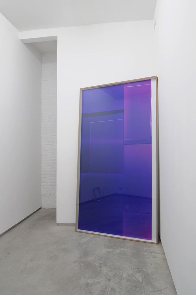 Manuel Burgener,  Untitled , 2013, photogram on dibond, glass, screws, wood, 285 x 152 x 7cm