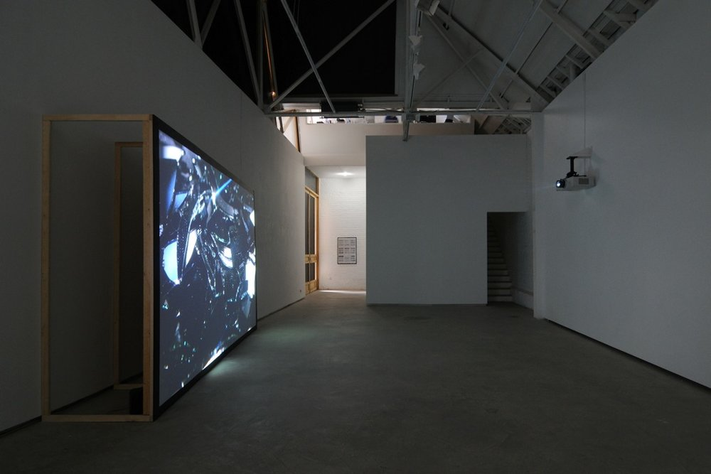 Sebastian Diaz Morales,  Ficcionario,  Catherine Bastide gallery, Brussels, 2013, exhibition view   Insight,  2012, 1-channel HD video, 11'30 min