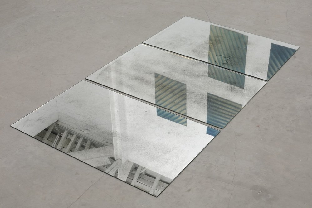 Lorna Macintyre,  October Portrait , 2012, three mirrors etched by weather, each 80 x 50 cm