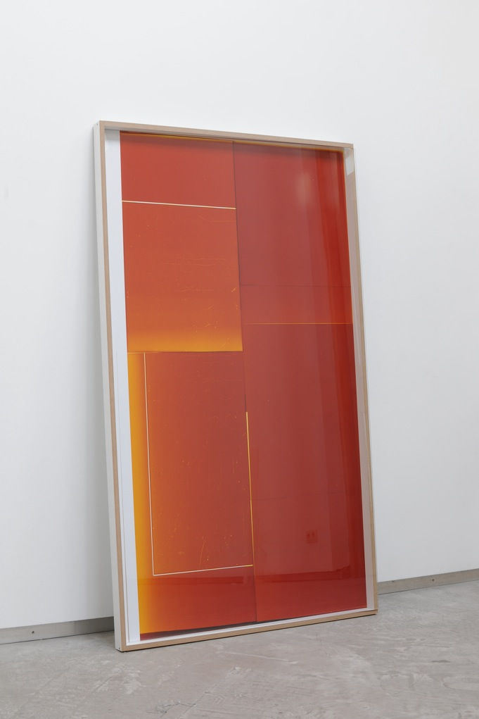 Manuel Burgener,  Untitled,  2012, photogramm on color paper, wood frame, hardware, glass, 186 x 105 x 6 cm