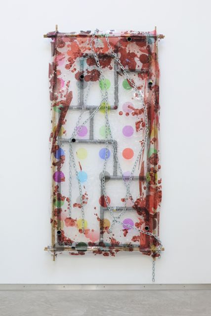 Renaud Jerez,  Liquid rainbow , 2012, inkjet print on perspex mounted on bambou, pvc, steel, linen, 200 x 100 x 20 cm