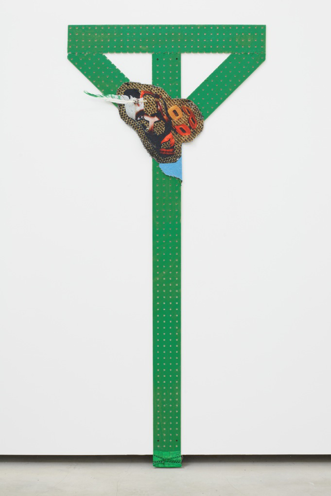 Untitled Bulletin (green w feather),  2006 -2012, peg board, ink, inkjet on cotton, nylon ribbon - 183 x 76,6 cm (72 x 31 in.)