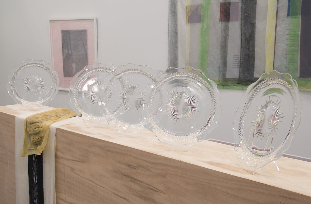 Valerie Snobeck / Catherine Sullivan,  Limited Good 4  (detail), 2013, depression glass, latex, wood, peeled print and felt on plastic, 56.5 x 60 x 8.5 inch
