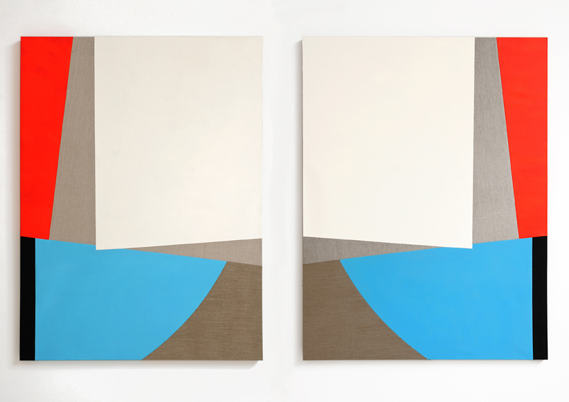 Sarah Crowner , Untitled (Dyptich) , 2011, oil on canvas and linen, sewn, each panel 137,1 x 182,9 x 91 ( 54 x 72 inches)