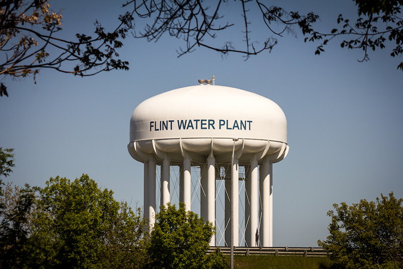 Flint Water Plant Water Tower, originally constructed in 1952 and then majorly renovated in April 2014. The renovation allowed the city to filter and purify higher volumes of raw water to supply as potable water to Flint residents and service areas. 2017. Photo by Eric Dutro