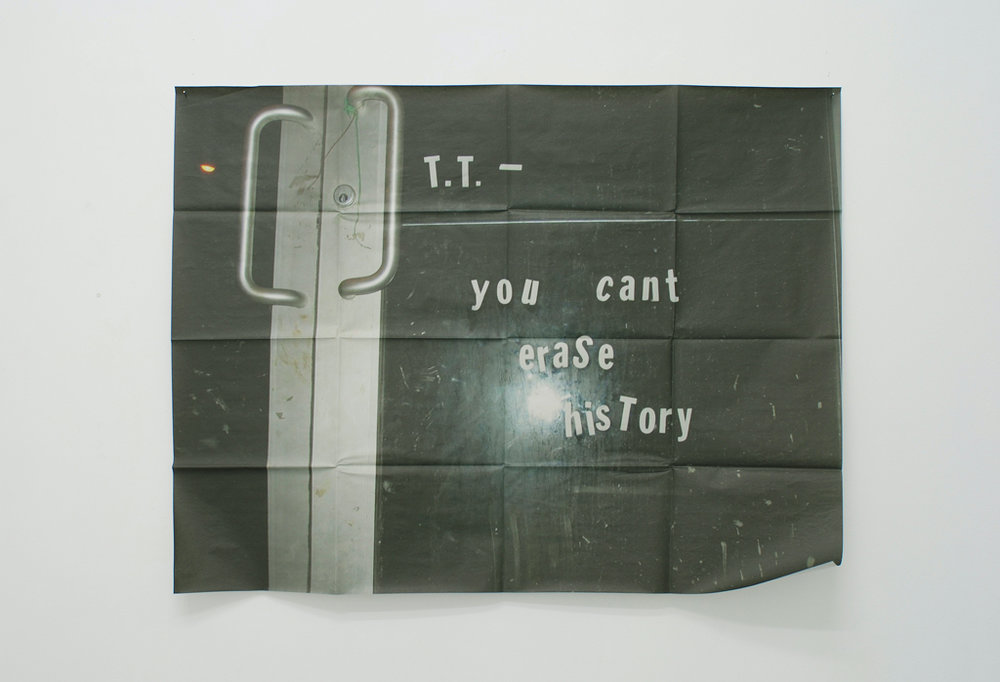 Meredyth Sparks,  Untitled (History)  (detail), 2009, wall piece: digital print on newprint, vinyl, acetate - 86.61 x 141.73 inches / 220 x 360 cm