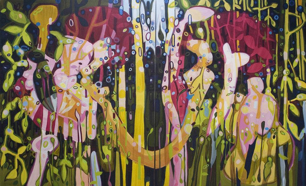 Janaina Tschäpe,  Sleep Walkers , 2009, oil on canvas Diptych - 249 x 402 cm
