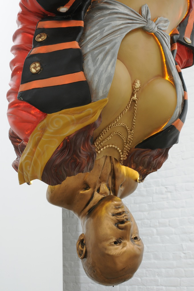 A Vessel in a Vessel in a Vessel and So On,  2007, Sculpture, pirate lady statue, Martin Luther King Jr plaster bust, wood, pump, light, chocolat, 91 x 91 x 304 cm, detail view