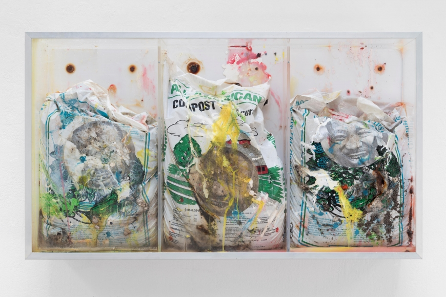 Rebuilding the Monument (chicago version/the vitrine problem/three of three), 2007, Compost, manure, photocopy, latex paint, acrylic, 25 3/8 by 44 1/8 by 9 1/8 in. 64.5 by 112.1 by 23.2 cm.
