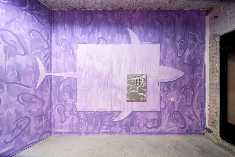 Luís Lázaro Matos,  White Shark Cafe #1,  2018  acrylic on canvas, wall painting  painting dimensions: 80 x 60 cm, installation dimensions variable