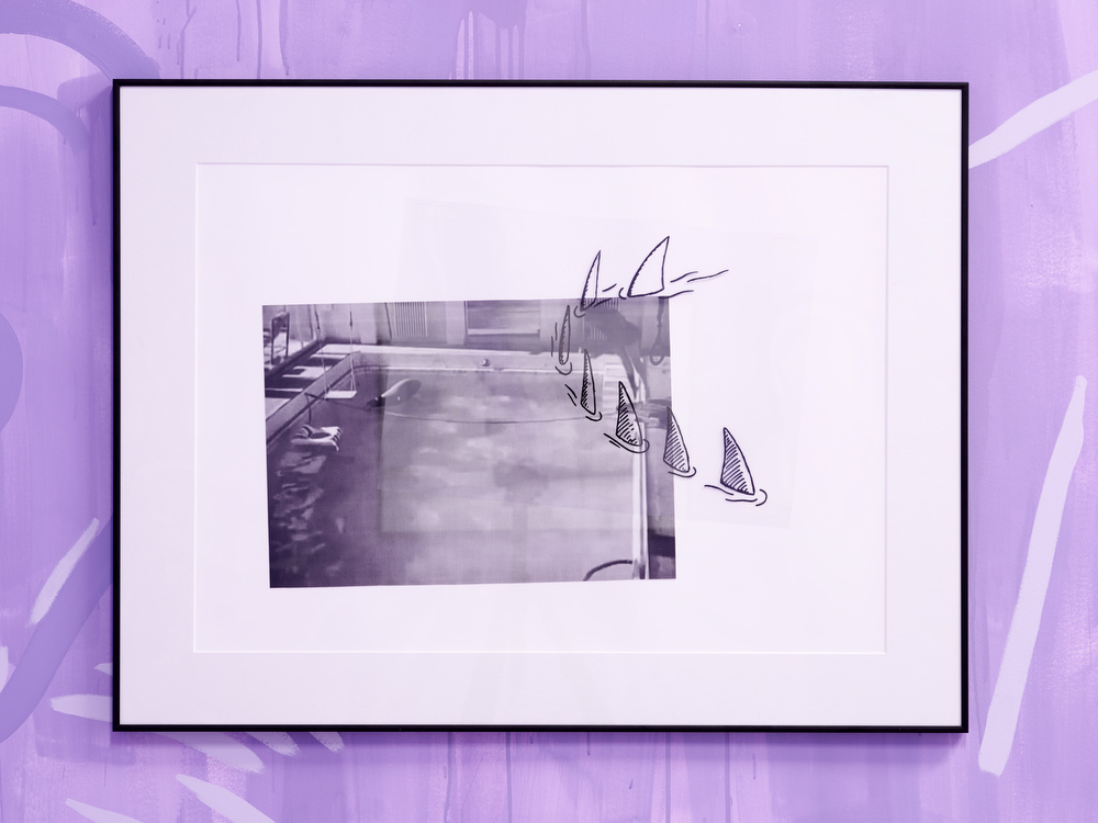 Luís Lázaro Matos,  Me and you at Villa Noailles #2,  2018  marker on tracing paper, inkjet print  65 x 86 cm (framed)