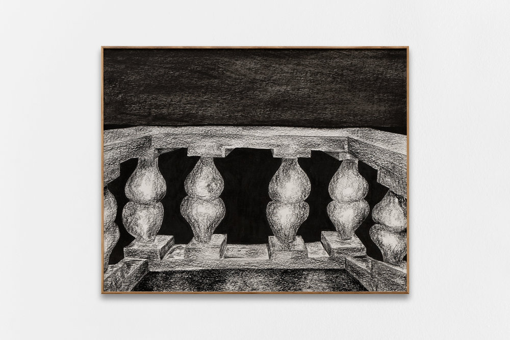 Gijs Milius,  Untitled_2 , 2018, compressed charcoal, dry pastels on paper, framed with oak wood and MDF