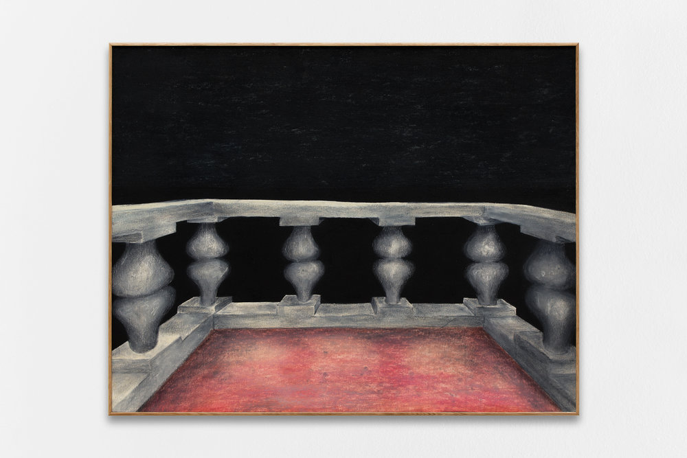 Gijs Milius,  Untitled_3 , 2018, compressed charcoal, dry pastels on paper, framed with oak wood and MDF, 48 x 60 cm