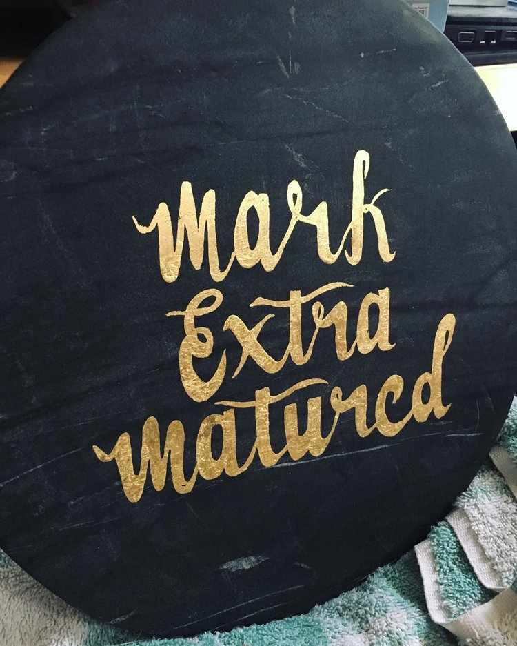 Personalised cheese board - A cheeseboard for a customers 60th birthday. A little cheeky but we did not decide what to put onto the board! It proves you can get very creative with gilding
