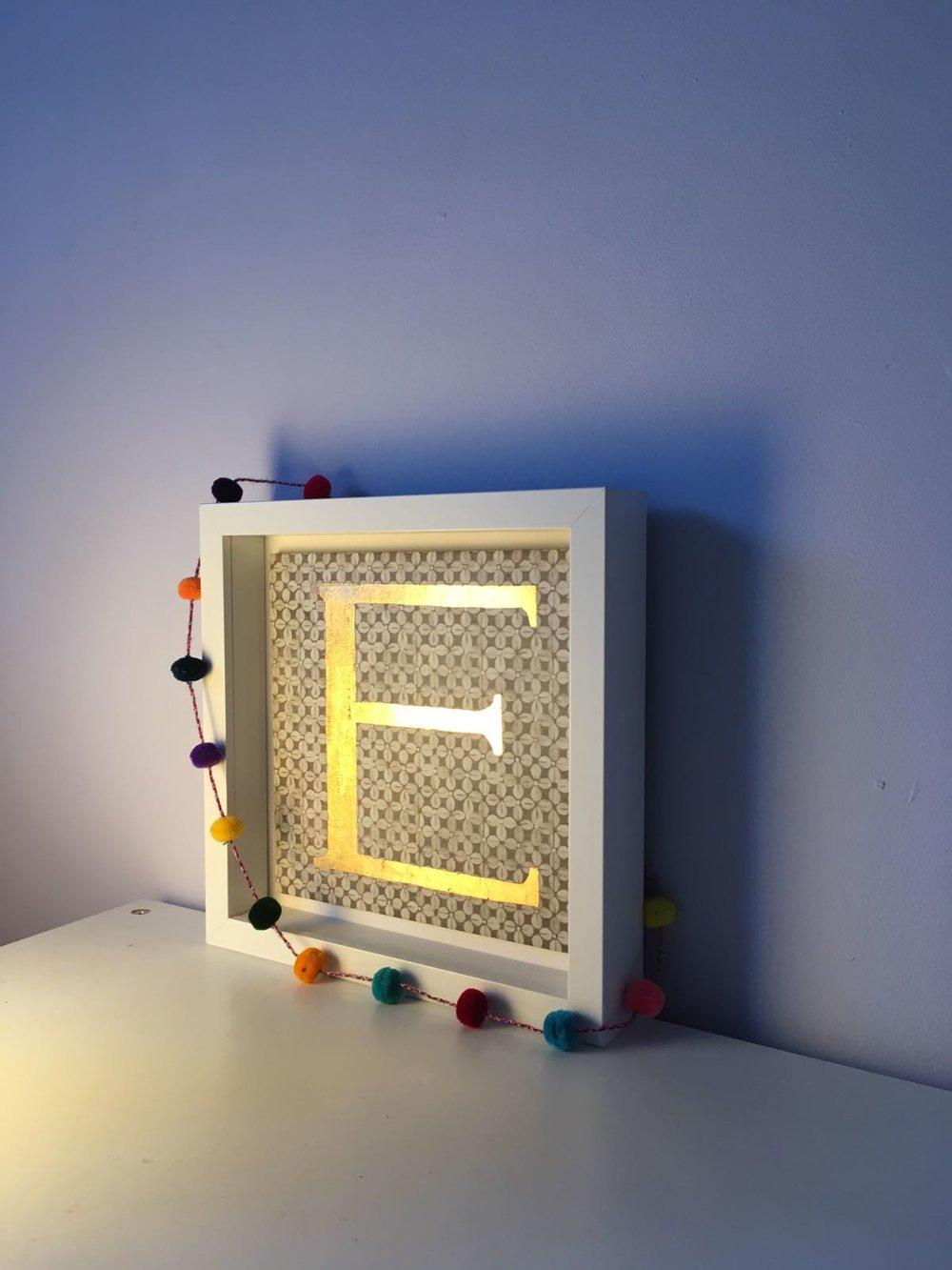 Alphabet Tile - We created this 'E' tile for a little Edward's room.
