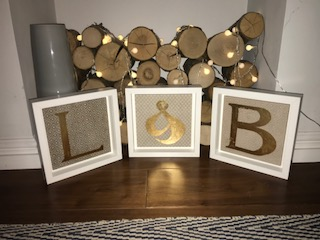 Alphabet Tiles - We did this selection of gilded alphabet tiles for a couples wedding anniversary...super cute!