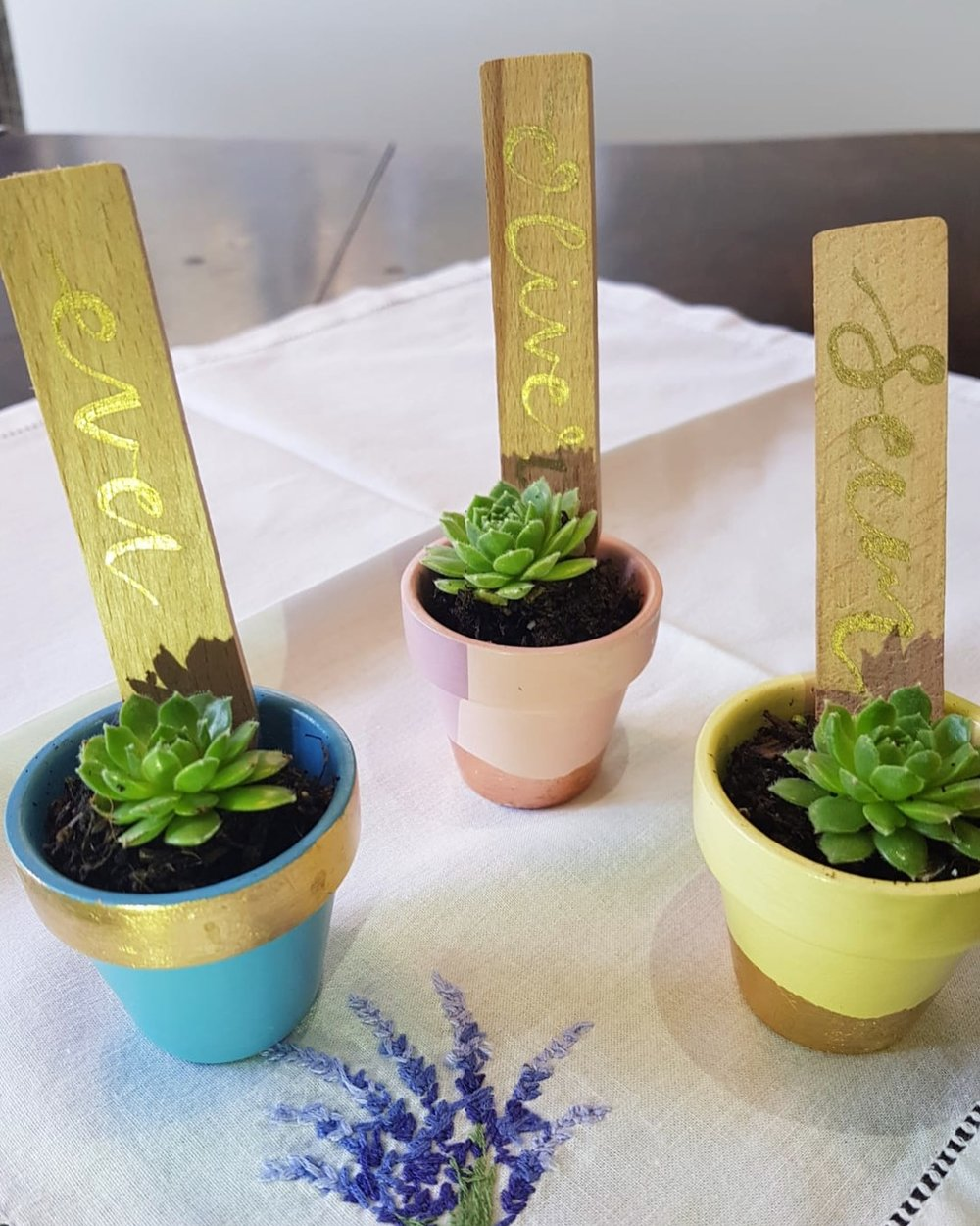 Wedding Favours and Place Names - Mini gilt plant pots with gold hand lettering. I loved making these for a small outdoor wedding.