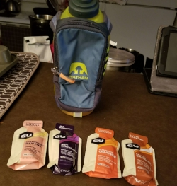 Gu Energy Lab and Nuun in a Nathan Hydration Bottle for 19 mile long run during marathon training