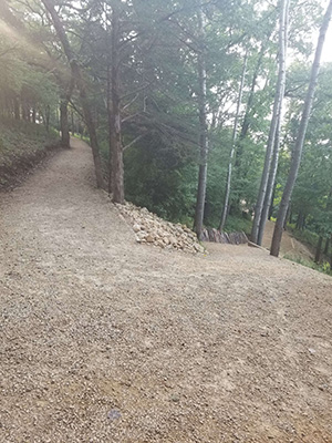 Luckily, this was a downhill section for me (winding beyond view)