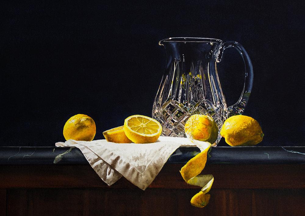 Still Life with Lemons & Crystal Pitcher