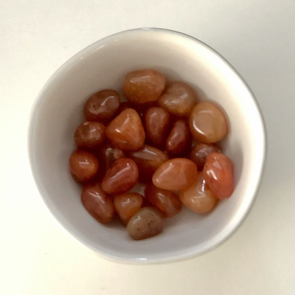 Carnelian    Chakra: Sacral   Encourages fertility, healing, courage, and leadership.   Price: $2.50