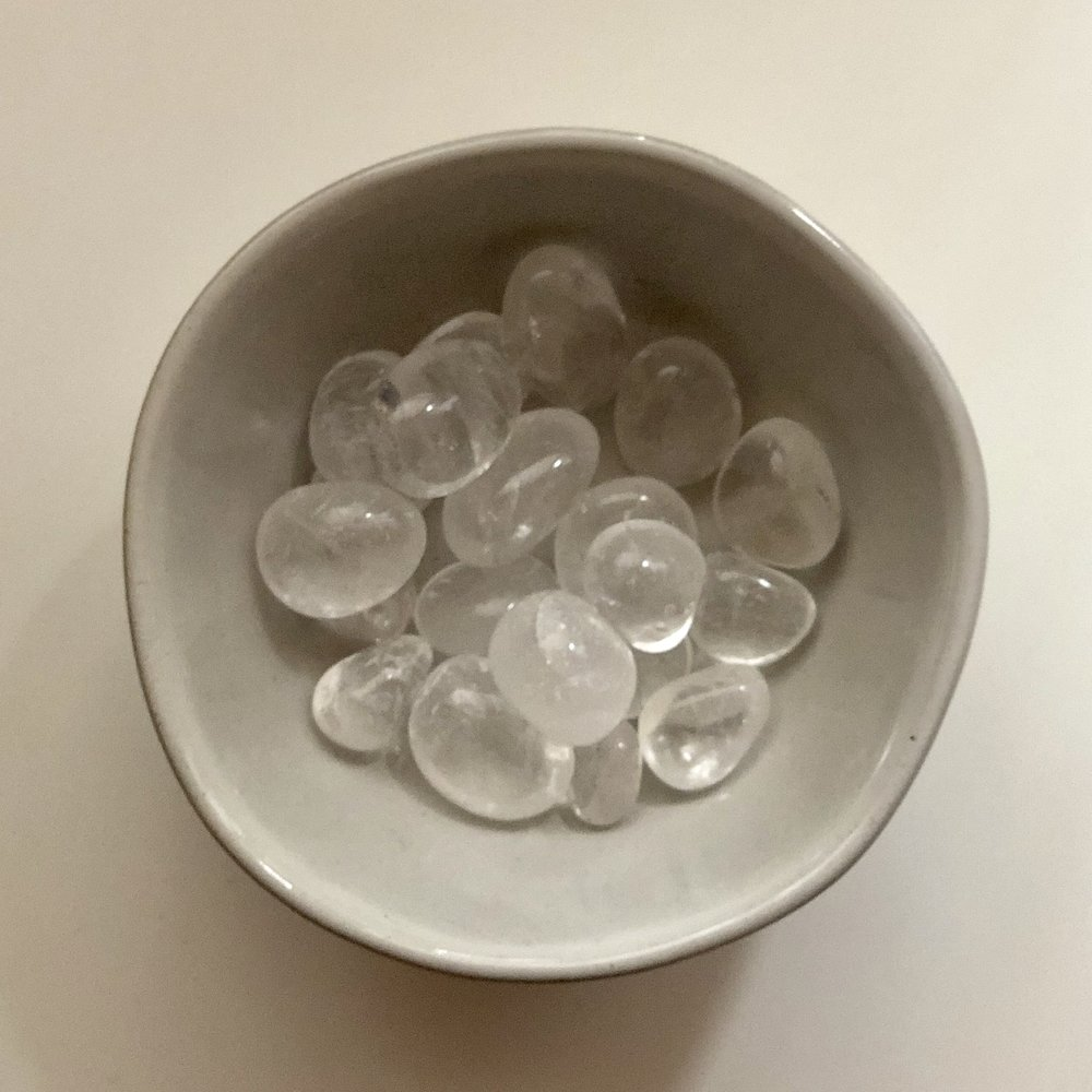 Clear Quartz    Chakra: All / Crown   Cleansing and healing, amplifies and attunes higher self.   Price: $2.50