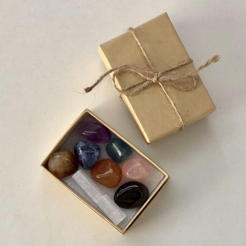 Chakra Healing Crystal Kit    Includes:  Amethyst, Sodalite, Blue Fluorite, Rose Quartz, Citrine, Carnelian, Hematite, Selenite.   Price: $20