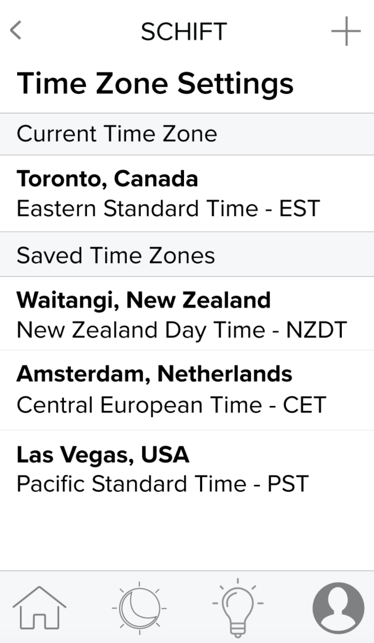 Schift app time zone settings