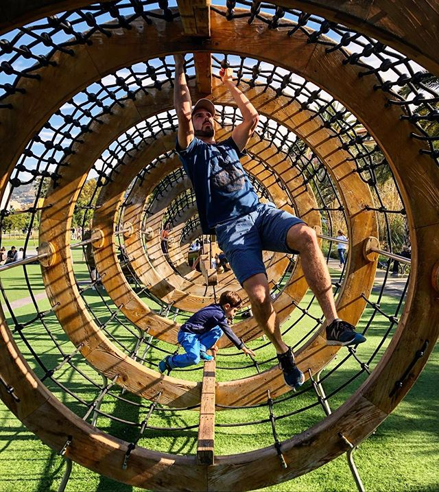 Ninja-ing on a playground in Nice, France with good friends!  Just because you're an adult, doesn't mean you're not allowed to play, too!  #stayplayful #adventuretogether #france #ilovenice #playground #playeveryday #neverstopplaying #ninjawarrior #family