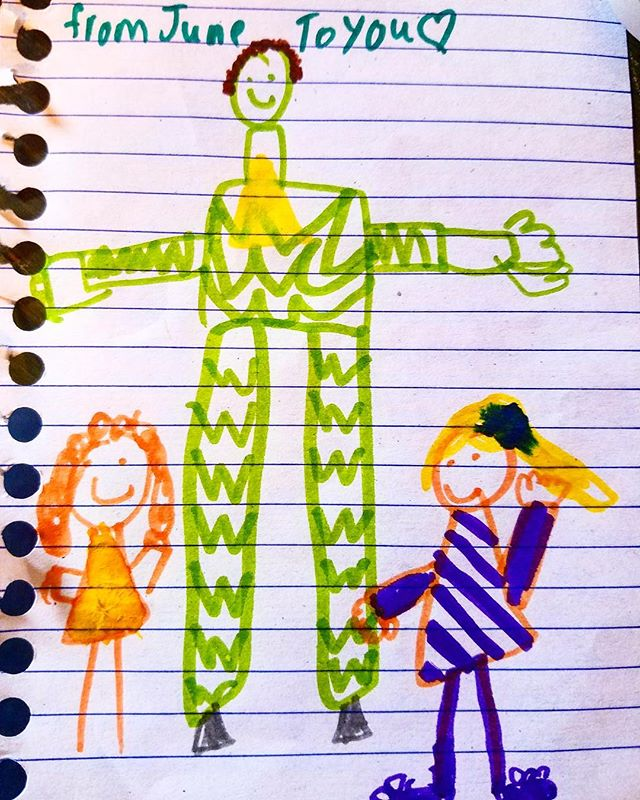 I just got this drawing in the mail from my friend June and her little sister Tess!  Performed an event at @williamchrisvineyards and was toured around by my fun friends who helped me greet guests and play!  I love getting mail from members of the treehouse tribe.  And I love writing handwritten letters, too.  If you'd like me to drop a note in the mail for you and your family, DM me with your address.  Thanks for the awesome memory June & Tess!  Maybe next time I can teach you how to walk on stilts! —Mr. Greenheart  PS- thanks for passing this along, Tara!  @taralacey  #spring #inspiration #writeletters #handwrittenletters #drawing #art #kidart #treehousetribe #mrgreenheart #mrgreenheartstreehouse