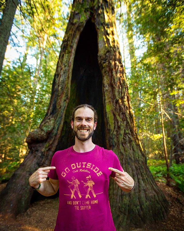 I'm back!  Get ready for what's next with Mr. Greenheart's Treehouse!  In the meantime, go outside and play my friends!  A photo from our journey in Northern California to listen to the Redwoods... Thanks for the perfect shirt with an important message @folkrebellion ! #redwoods #gooutside #optoutside #mrgreenheart #treehouse #nature #adventure