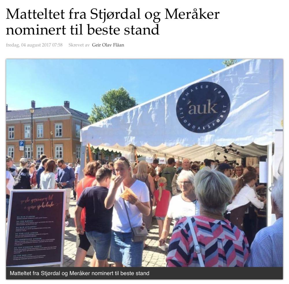 Artikkel i Stjørdals-Nytt 04.08.2017