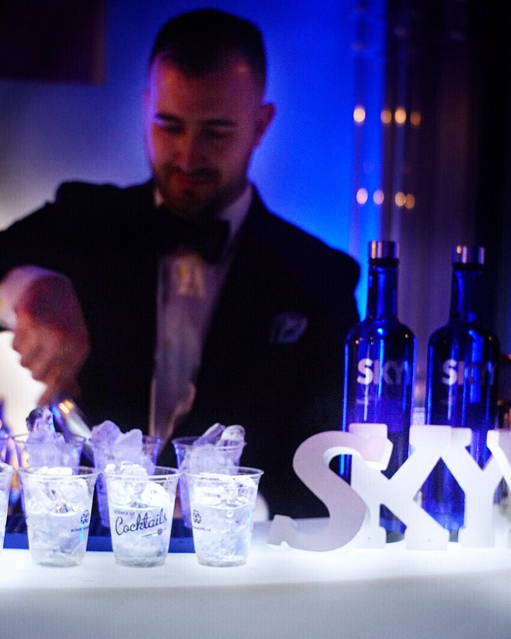 Clear Collins: Skyy vodka, citric acid, simple syrup, dry ice.