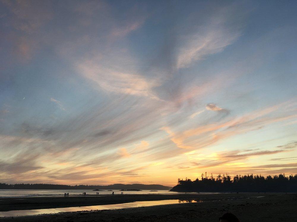 A sunset setting: