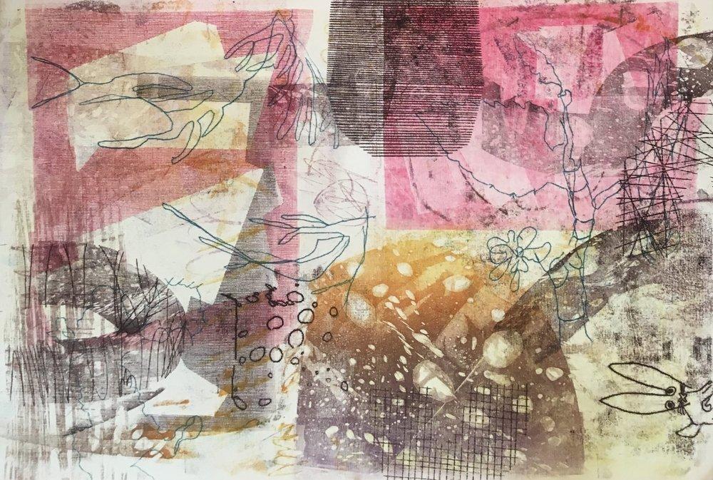 Mandee Schroer, Monoprint, 2017