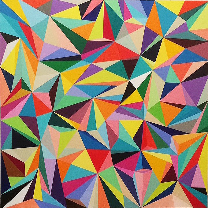 """Multicolor Dimensional Triangles"" by Elizabeth Sutton. Available for purchase with Marcel Katz Art."