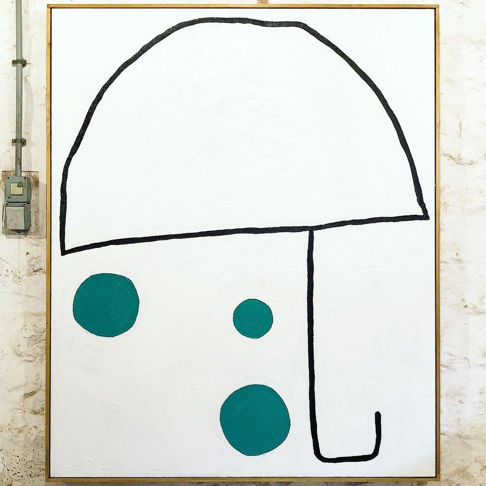 """Umbrella"" by Bertrand Fournier. Oil on linen glued on a wood panel. 122 x 100 cm. 2018."