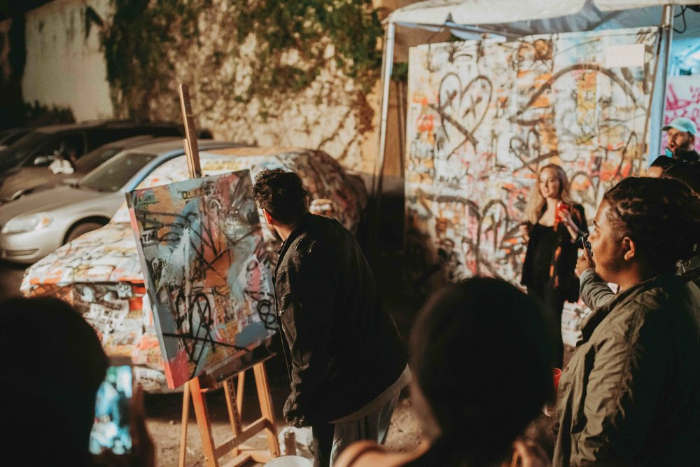 Tiago Magro live painting at The Art Plug Power House: Miami Art Week 2018