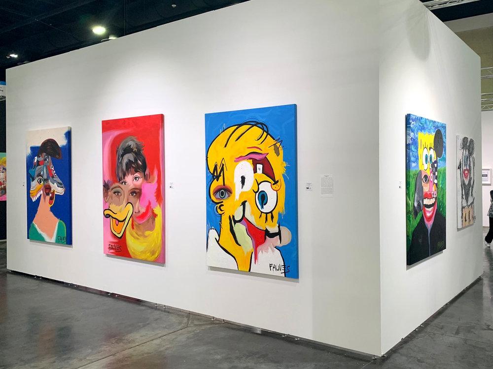 """Balenciaga,"" ""In The Cloud,"" ""I Am Homer,"" ""Bobme,"" and"" ""Rathole"" by John Paul Fauves exhibited at Art Palm Beach 2019"