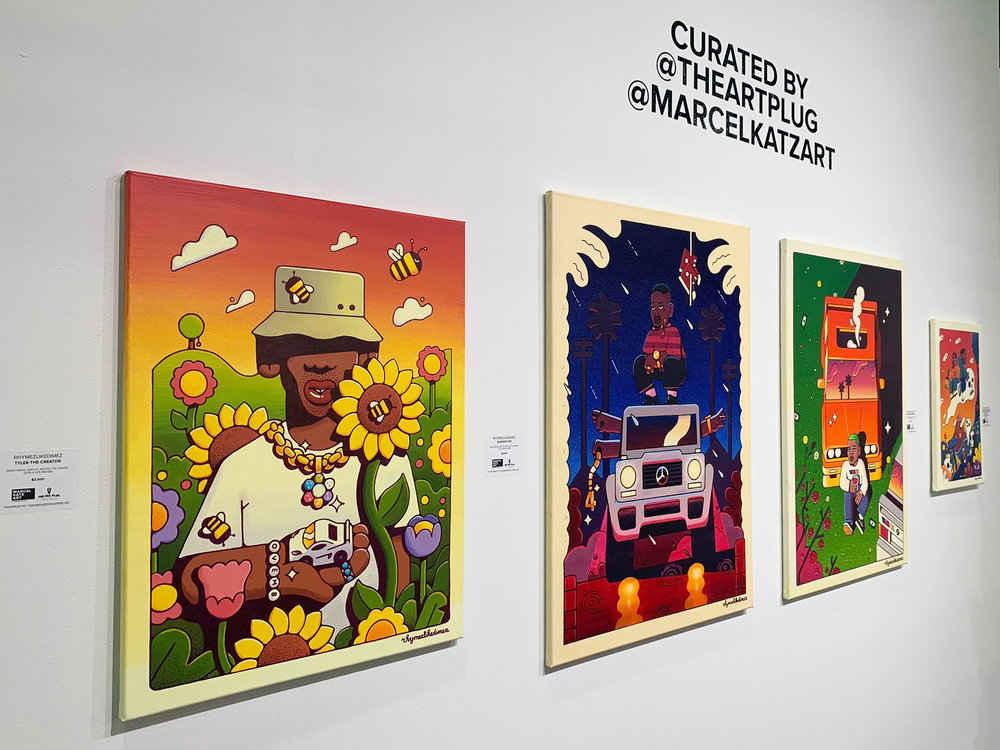 """Tyler The Creator,"" ""Suwoop (YG),"" ""Solo (Frank Ocean),"" and ""Keep Moving Forward (Kids See Ghosts AKA Kanye West & Kid Kudi),"" by Rhymezlikedimez exhibited at Art Palm Beach"
