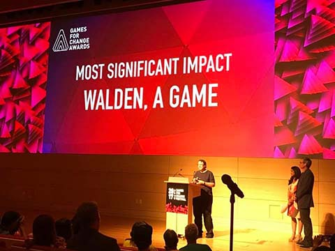 Tracy Fullerton accepts the Most Significant Impact Award at Games for Change.