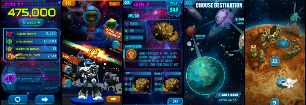 Some of the UI concepts I created for the game. We simplified a lot of it for the final product.