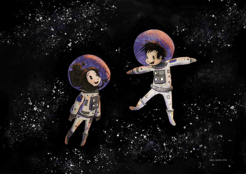my wife and I as astronauts