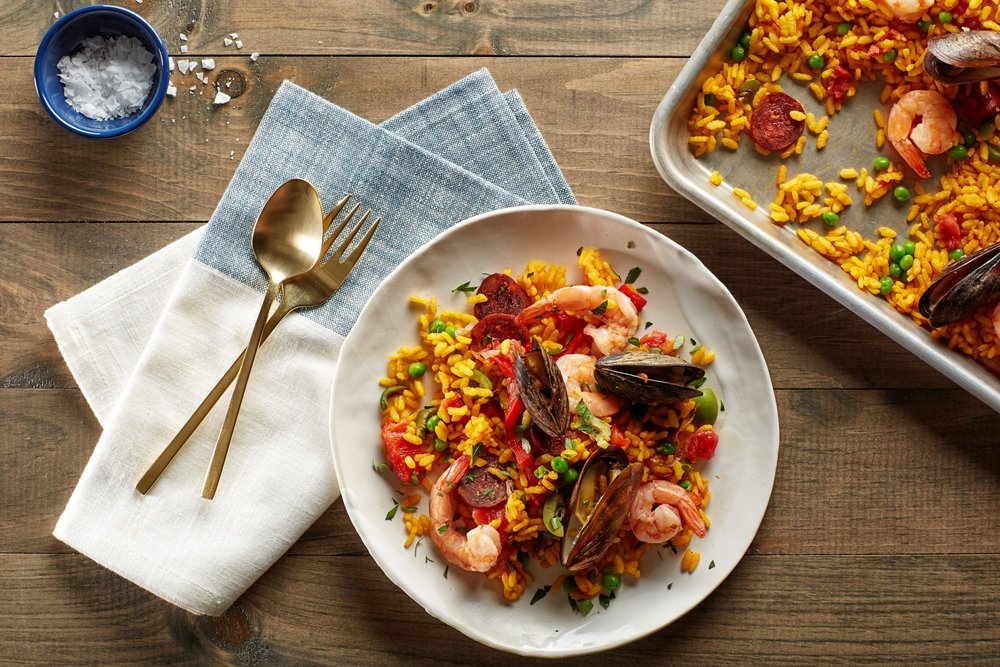 - Paella with Chorizos, Mussels, and shrimp.Items we carry for this dish: Paella seasoning, paella rice