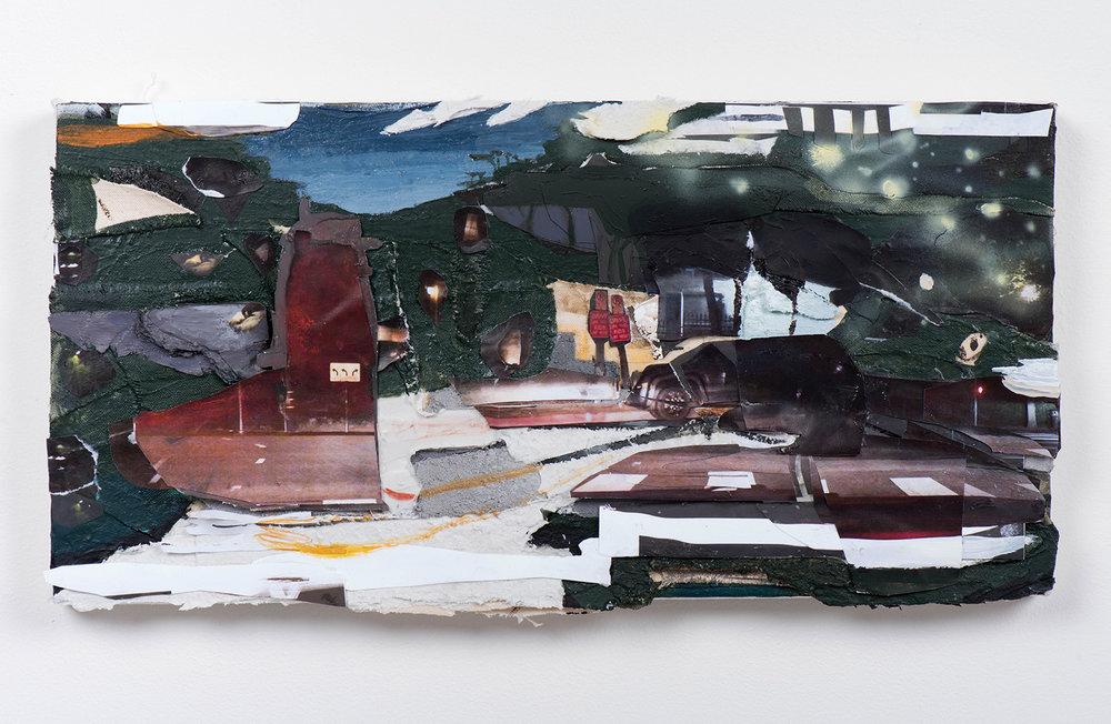 """Get Lucky, 2018 // Acrylic, collage, photographs, asphalt, cement, airbrush, etc on canvas // 9 x 18"""""""