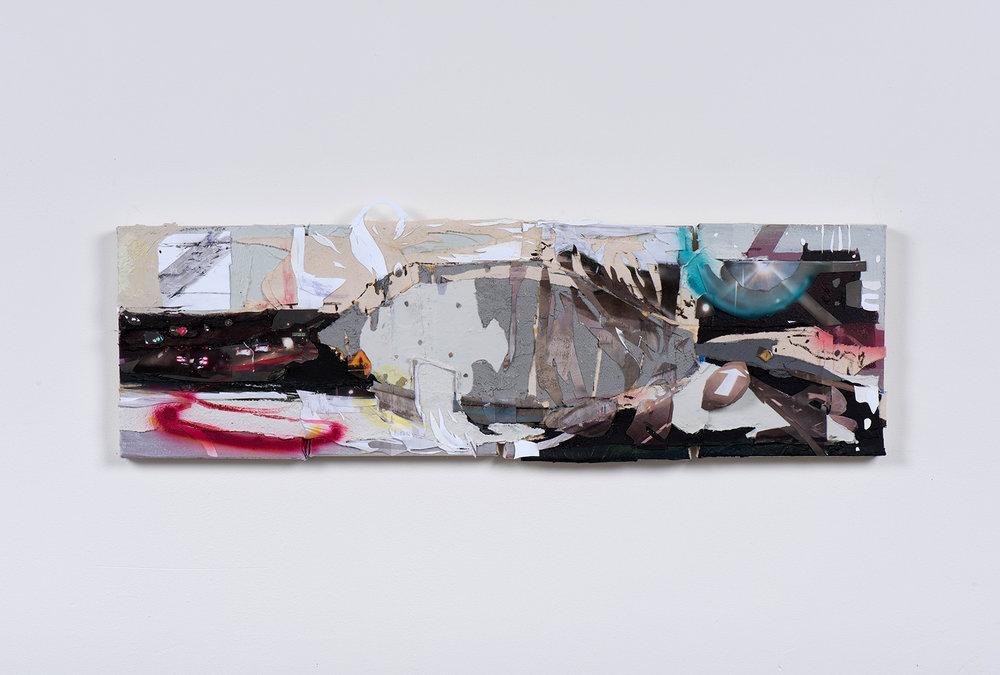 "Sky Fits Heaven, 2018 // Acrylic, collage, photographs, asphalt, cement, airbrush and acrylic mediums on four canvases // 10 x 36"""