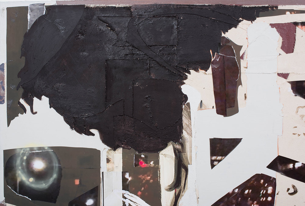 """Life Child, 2018 // Acrylic, airbrush, oil, collage, photographs, asphalt, cement, etc on two canvases // 48 x 103"""""""