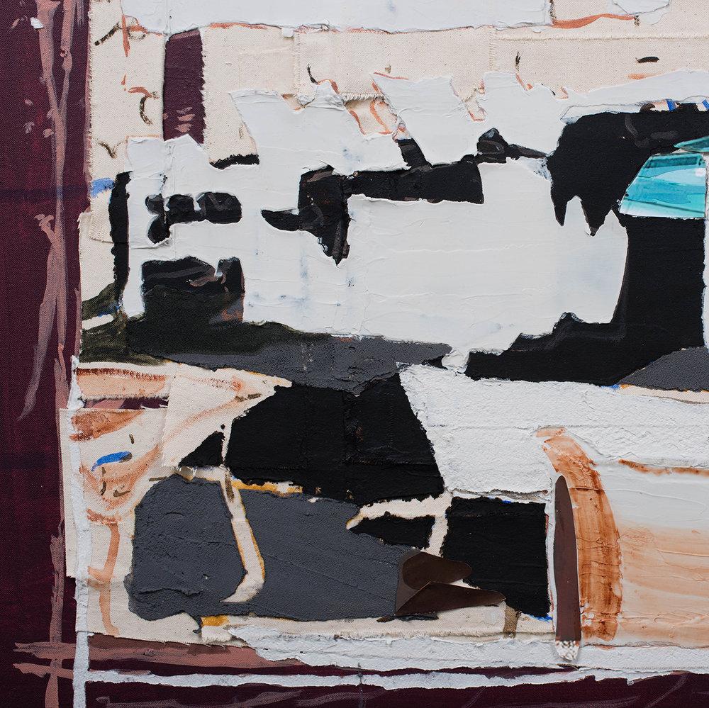 "One Last Time, 2018 // Acrylic, oil, collage, photographs, asphalt, cement, airbrush and acrylic mediums on four canvases // 48 x 48"""