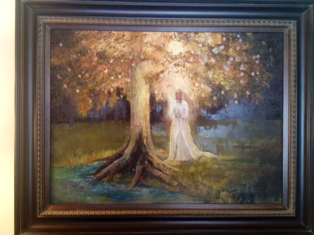 This painting of Lily waiting for her family by the Tree of Life now hangs in the family's entryway.